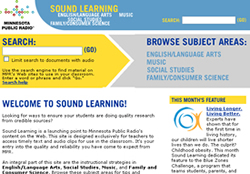 Screenshot of MPR's Sound Learning homepage