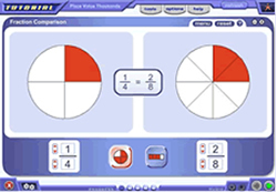 Screenshot of fractions manipulative